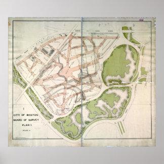 Plan propuesto de la calle para Fenway del oeste Posters