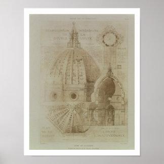 Plan, sección y elevación de la catedral de Floren Póster