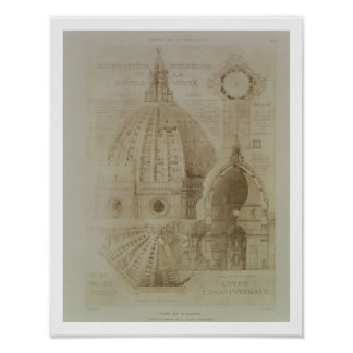 Plan, Section and Elevation of Florence Cathedral, Poster