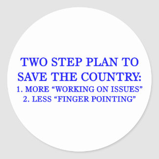 Plan to save the country classic round sticker