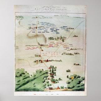Plan y vista de la batalla de Waterloo Póster