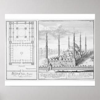 Plan y vista de la mezquita azul (1609-16), constr poster