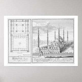 Plan y vista de la mezquita azul (1609-16), constr impresiones