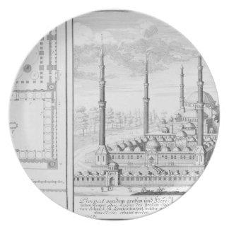 Plan y vista de la mezquita azul (1609-16), constr plato de cena