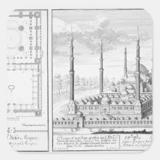 Plan y vista de la mezquita azul (1609-16), pegatina cuadrada