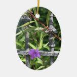 Planche la cerca, hojas del verde, flor púrpura adorno de reyes