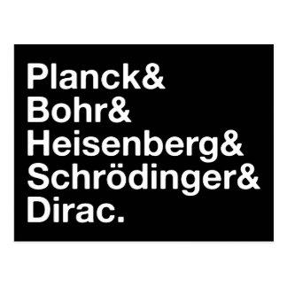Planck & Bohr & Heisenberg & Schrödinger & Dirac Postcard