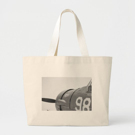 Plane 98 in Black and White Large Tote Bag