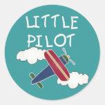 Plane and Clouds Little Pilot Round Sticker
