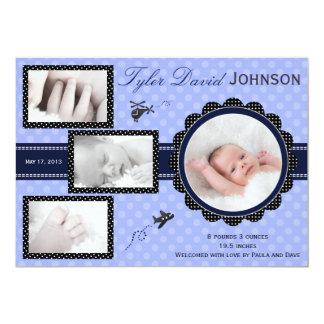 Plane Baby Boy Photo Birth Announcement