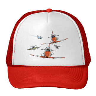 Plane Cartoons Aviation Cap Trucker Hat