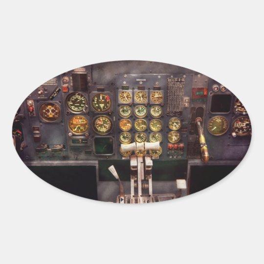 Plane - Cockpit - The controls are set Oval Sticker