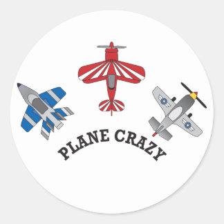 Plane Crazy Classic Round Sticker