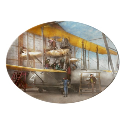 Plane - Getting ready for a long flight 1919 Porcelain Serving Platter