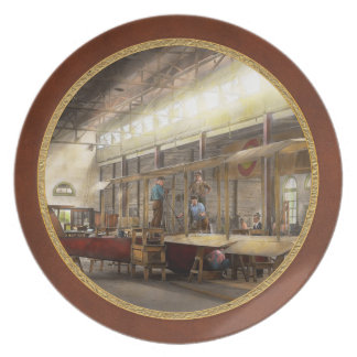 Plane - In the Airplane Factory 1918 Melamine Plate