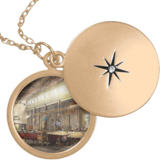 Plane - In the Airplane Factory 1918 Round Locket Necklace