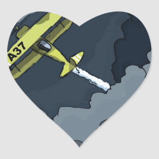 plane in the clouds heart sticker