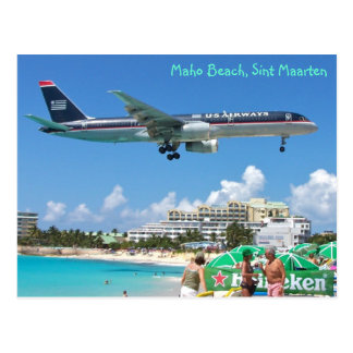 Plane landing over Maho Beach, Sint Maarten, SXM Postcard