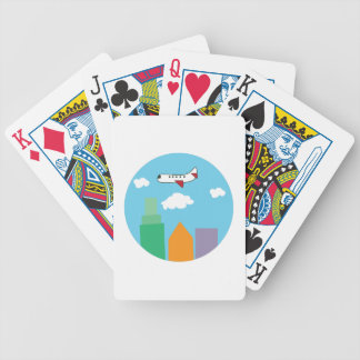Plane Over City Bicycle Playing Cards