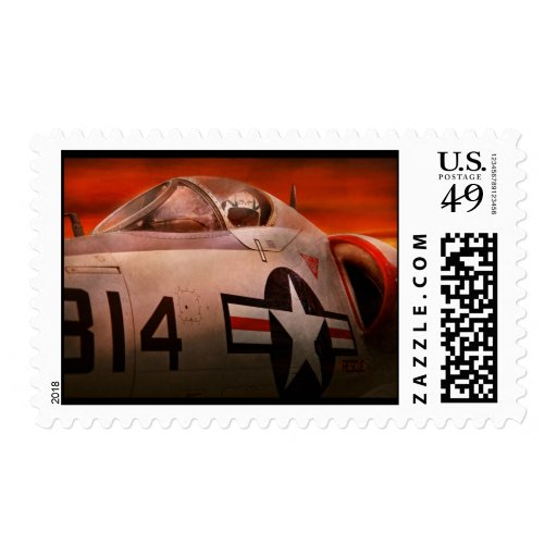 Plane - Pilot - Airforce - Go get em Tiger Postage Stamp