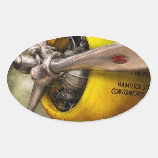 Plane - Pilot - Prop - Twin Wasp Oval Sticker