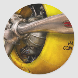 Plane - Pilot - Prop - Twin Wasp Classic Round Sticker