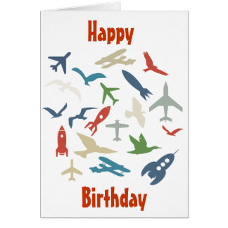 Plane, rockets and birds birthday card