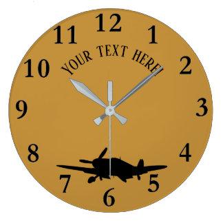 Plane silouette large clock