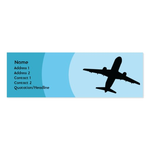 Plane - Skinny Double-Sided Mini Business Cards (Pack Of 20)