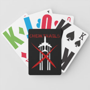 Plane spraying chemtrails crossed out bicycle playing cards