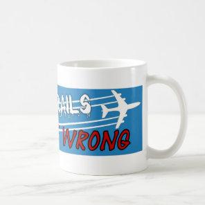 Plane spraying chemtrails crossed out coffee mug
