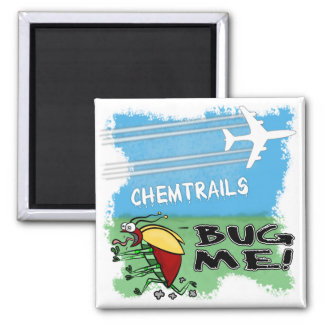 Plane spraying chemtrails on terrified insect 2 inch square magnet