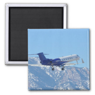 Plane taking off at the airport 2 inch square magnet