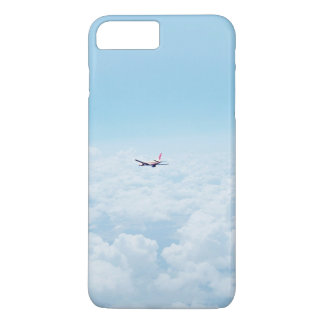 Plane Themed, A Airplane Flies In Blue Skies Above iPhone 7 Plus Case