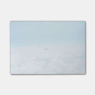 Plane Themed, A Airplane Flies In Blue Skies Above Post-it® Notes