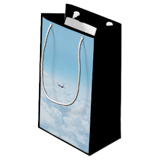 Plane Themed, A Airplane Flies In Blue Skies Above Small Gift Bag
