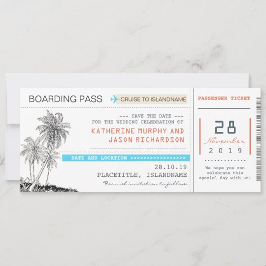 Plane Tickets Boarding Pass Save The Date Design