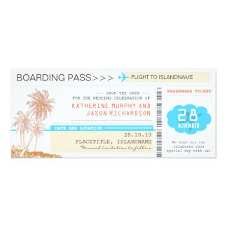 plane tickets boarding pass save the date design 4x9.25 paper invitation card