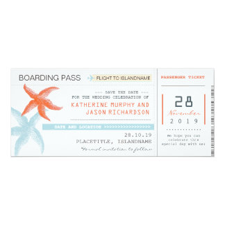 plane tickets boarding pass save the date design card
