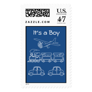 Plane, Train and Car Design ~ editable background Postage