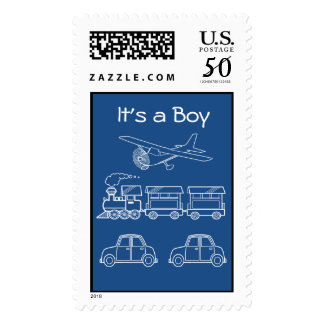 Plane, Train and Car Design ~ editable background Postage