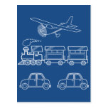Plane, Train and Car Design ~ editable background Postcard