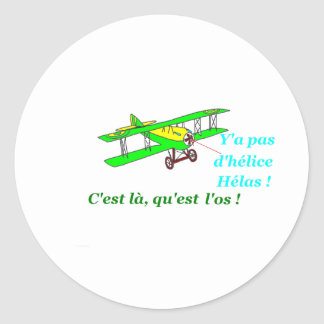 PLANE WITHOUT PROPELLER 1.PNG CLASSIC ROUND STICKER