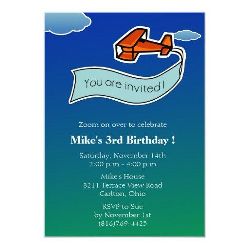 Planeador - fiesta de cumpleaños Invitation-2 Invitaciones Personales