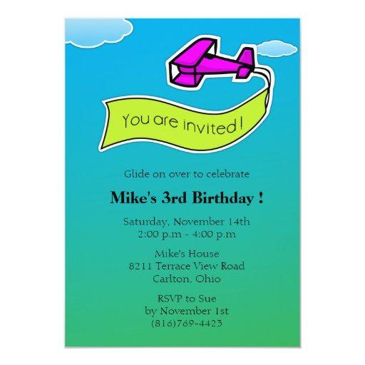 Planeador - invitación de la fiesta de cumpleaños