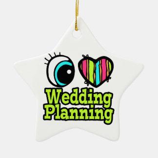 Planeamiento brillante del boda del amor del adorno navideño de cerámica en forma de estrella