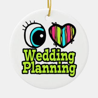 Planeamiento brillante del boda del amor del adorno navideño redondo de cerámica