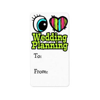 Planeamiento brillante del boda del amor del coraz etiquetas de dirección