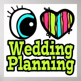 Planeamiento brillante del boda del amor del coraz póster