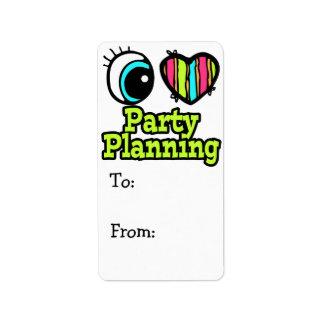 Planeamiento brillante del fiesta del amor del cor etiquetas de dirección